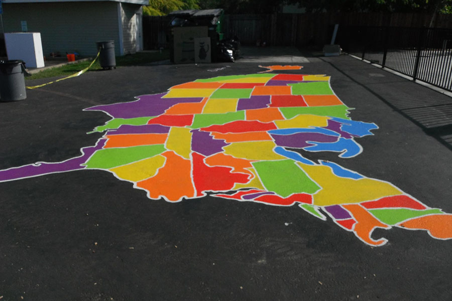 How To Paint US And World Maps KaBOOM - Giant us map stencil