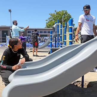 Stephen Curry and Ayesha Curry install a playground slide
